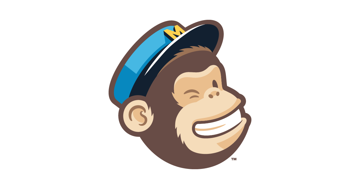 Mailchimp logo of grinning winking chimpanzee wearing blue bellboy cap with the letter M on it